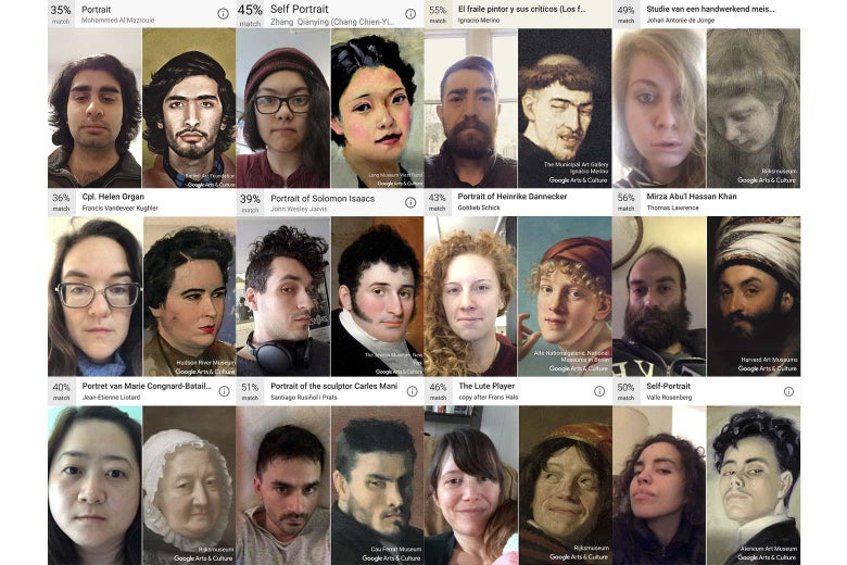 the pain of the google app that matches your selfie with a painting