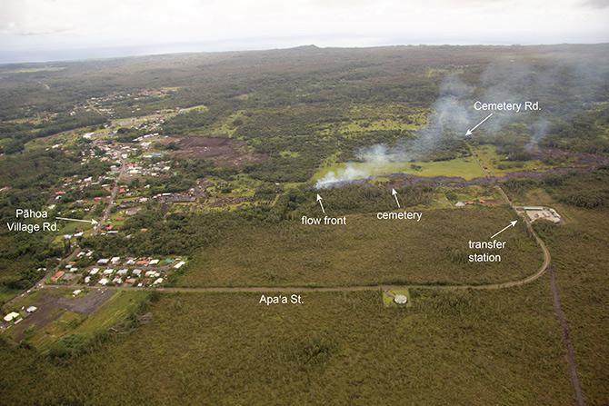 As of Monday, the lava was just a few football field lengths away from the center of town, a distance it was expected to cover in a day or so.