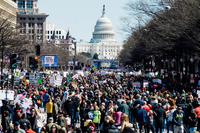 The U.S. Capitol is pictured as demonstrators gather on Pennsylvania Avenue during the March for Our Lives rally on Saturday.