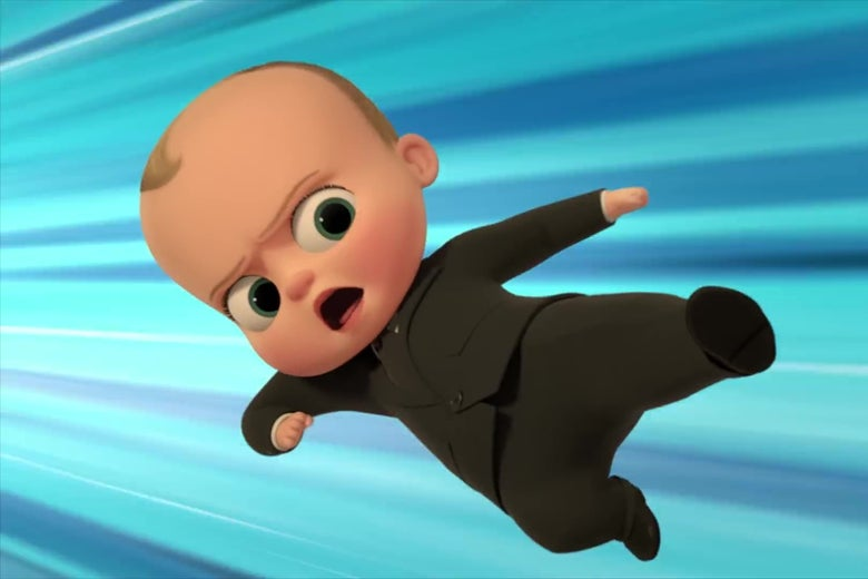 The Boss Baby, flying through the air doing a karate kick.