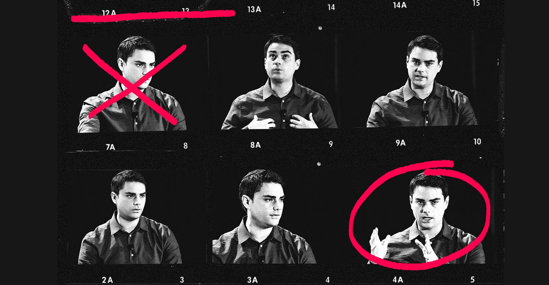 A contact sheet containing six images of Ben Shapiro. One is circled. One is crossed out.