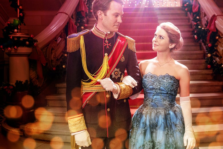 Rose McIver and Ben Lamb gaze at each other in A Christmas Prince.