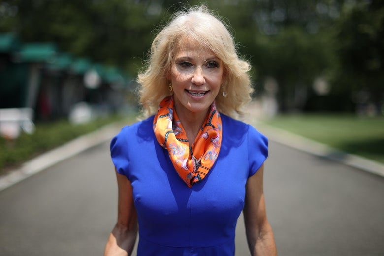 Kellyanne Conway smiles with an open mouth, wearing a blue shirt, an orange patterned scarf, and a gold cross necklace. She is standing on an outdoor path.