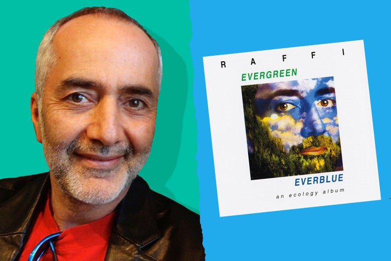 "Photo illustration of Raffi with a cover of ""Evergreen Everblue."""