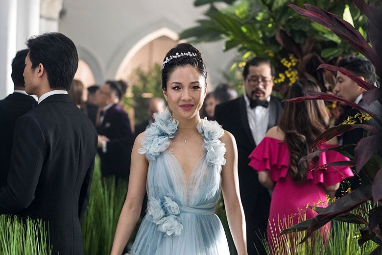 Constance Wu attends a formal event in Crazy Rich Asians.