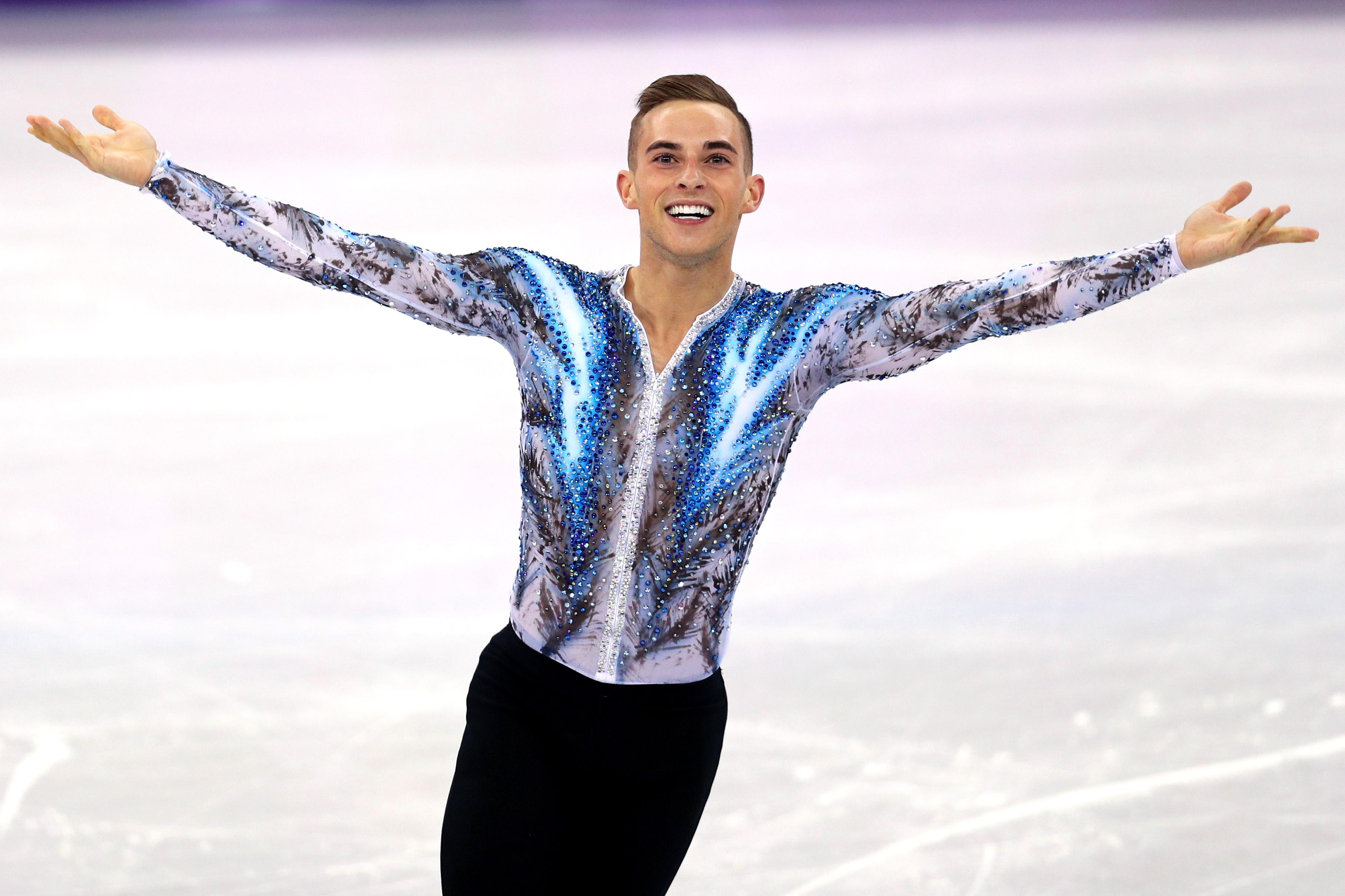 Figure skater Adam Rippon celebrates after competing on day three of the Pyeongchang 2018 Winter Olympic Games on Feb. 12, 2018.