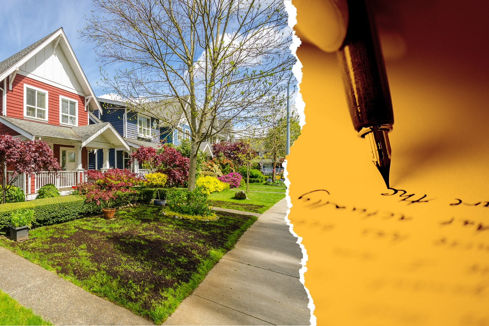 A collage of a quiet suburban neighborhood and a man writing a story.