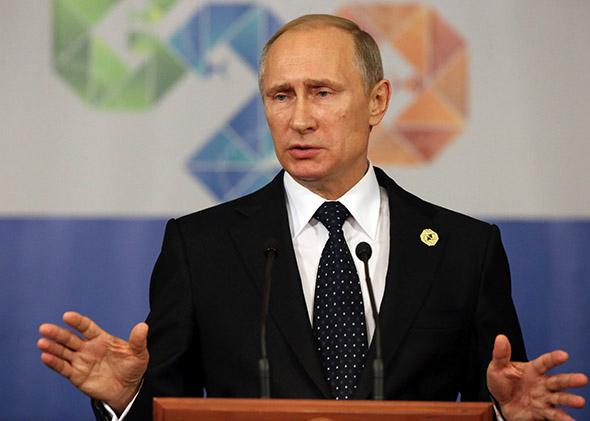 Russian President Vladimir Putin speaks during a press conference at the G20 Summit.