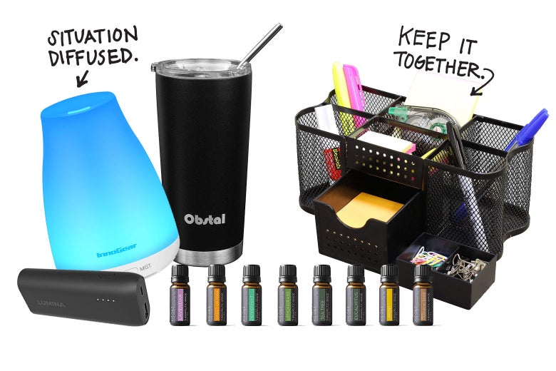 Essential oils, a diffuser, a portable phone charger, a steel tumbler, a desk organizer.