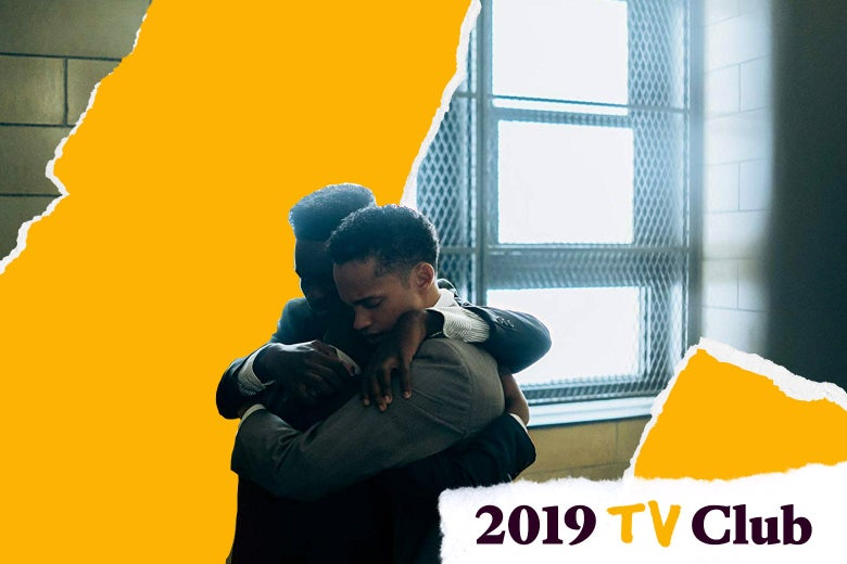 Ethan Herisse and Marquis Rodriguez hug a third boy in a dark institutional room, in a scene from the series.