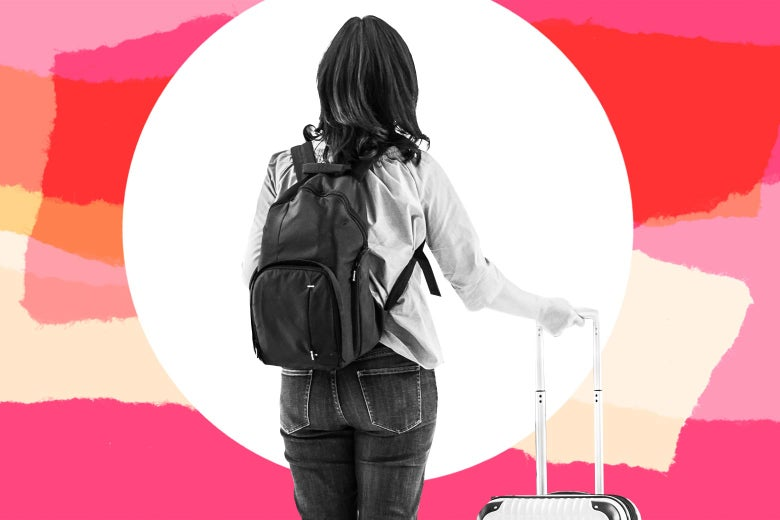 Teen girl wearing a backpack and holding a rolling luggage, seen from the back