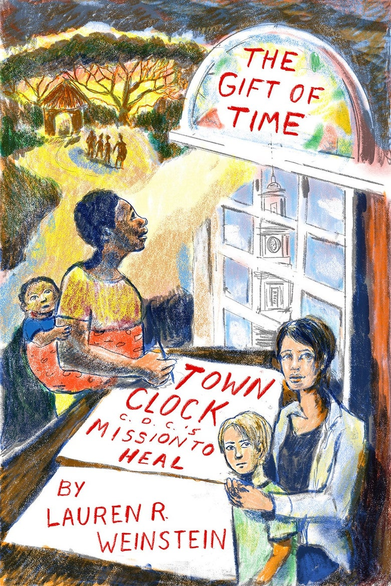 """Cover image. Two woman and their children, and the title """"The Gift of Time."""""""