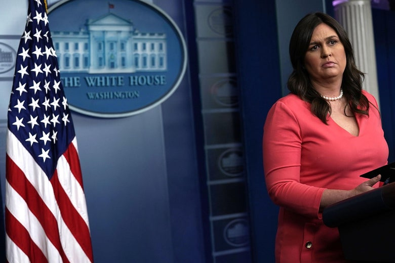 White House Press Secretary Sarah Sanders conducts a White House daily news briefing at the James Brady Press Briefing Room of the White House June 18, 2018 in Washington, D.C.