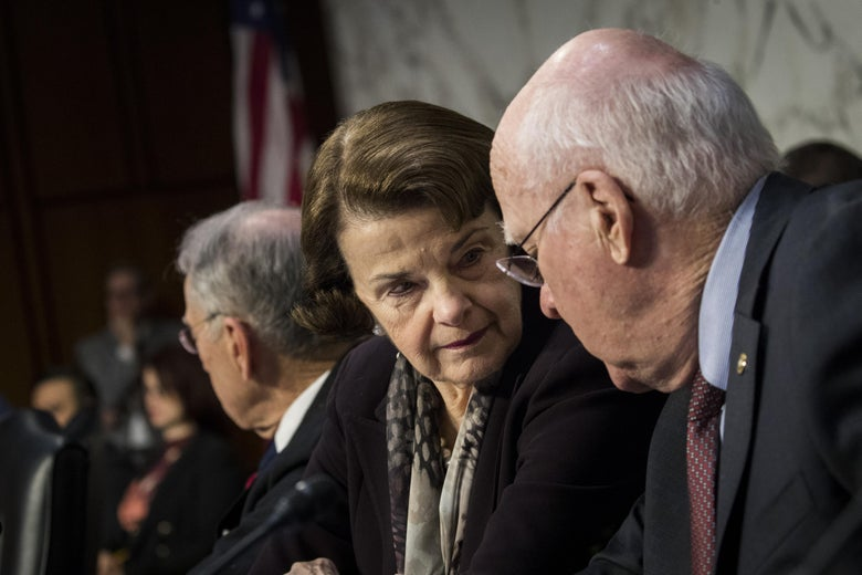 Sen. Dianne Feinstein and Sen. Patrick Leahy at a hearing.
