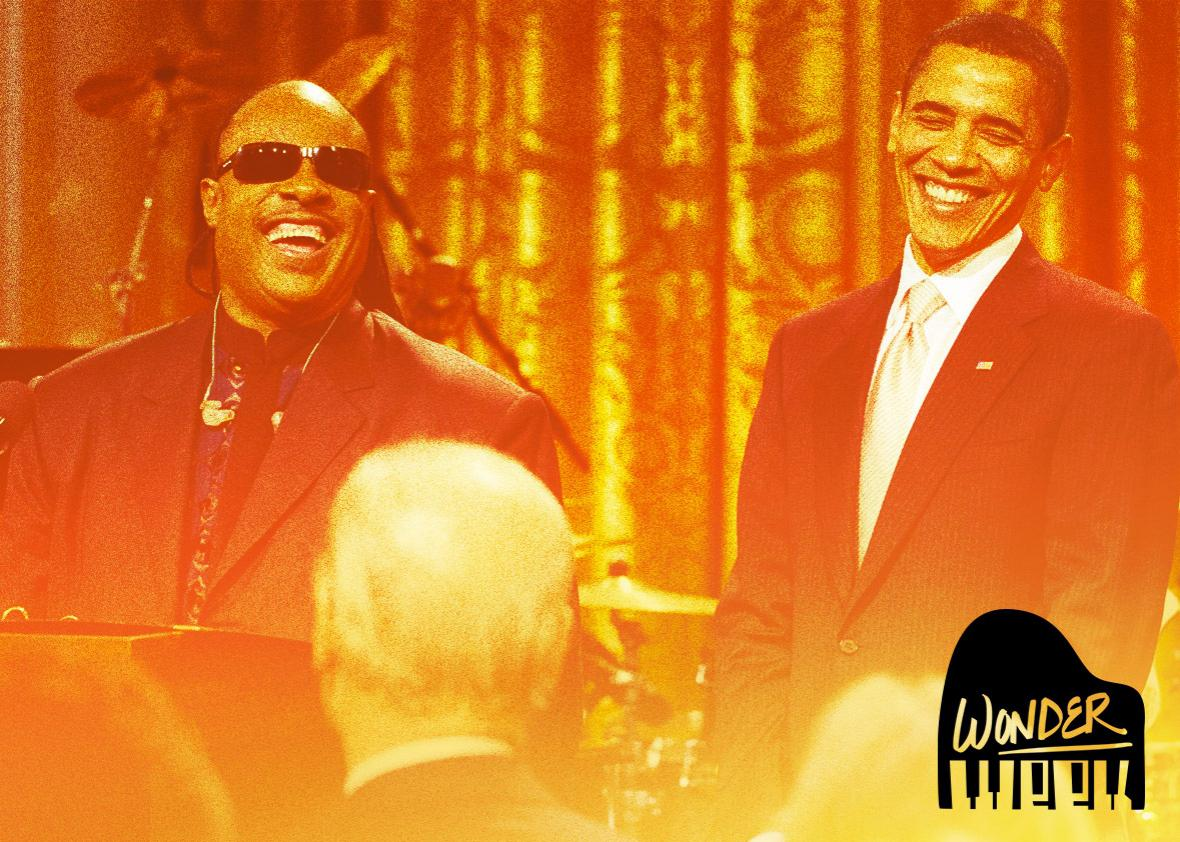 US President Barack Obama laughs alongside musician Stevie Wonder in Washington, DC on February 25, 2009.
