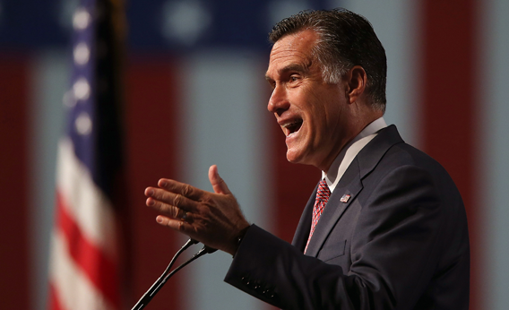 Republican presidential candidate and former Massachusetts Gov. Mitt Romney speaks during the 113th National Convention of the Veterans of Foreign Wars of the U.S. on July 24, 2012 in Reno, Nevada.