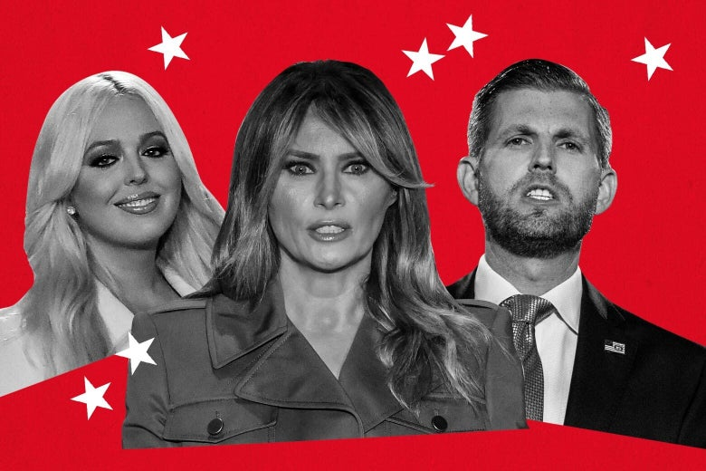 Tiffany Trump, Melania Trump, and Eric Trump on a red background.