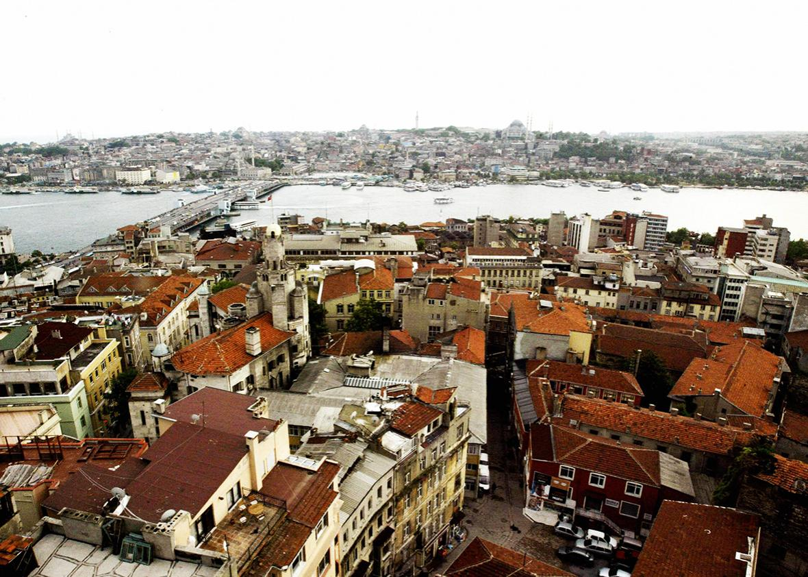 Picture taken from the Galata Tower in Istanbul, 02 June 2004 shows the Galata Bridge and the Bosphorous.