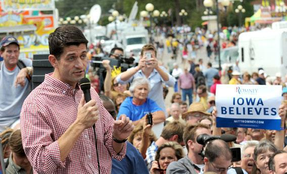 Republican vice presidential candidate, U.S. Rep. Paul Ryan speaks during a campaign stop at the Iowa State Fair August 13, 2012, in Des Moines, Iowa.