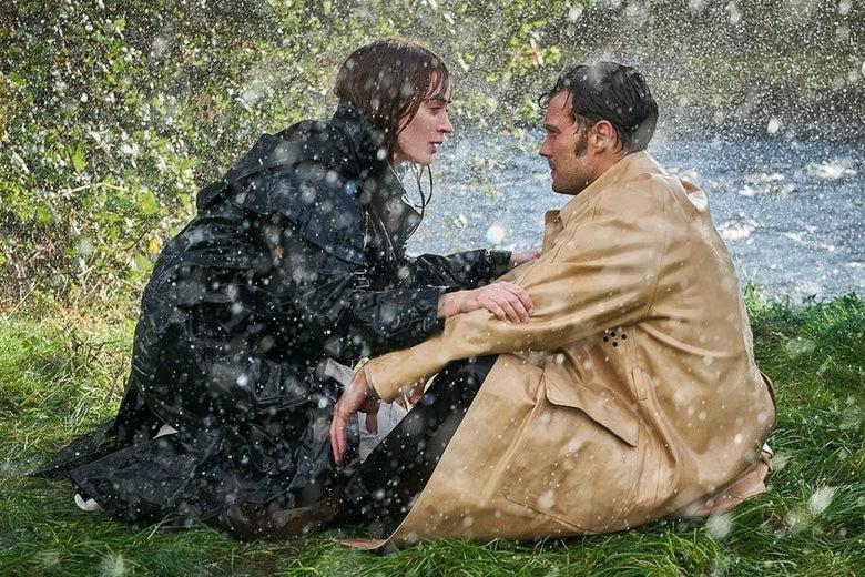 Emily Blunt and Jamie Dornan in the rain, in Ireland.