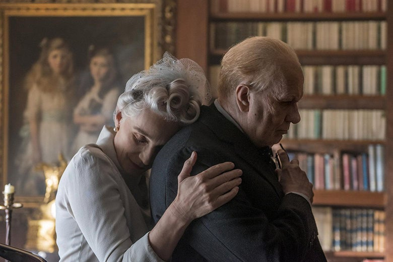 Kristin Scott Thomas and Gary Oldman in Darkest Hour.