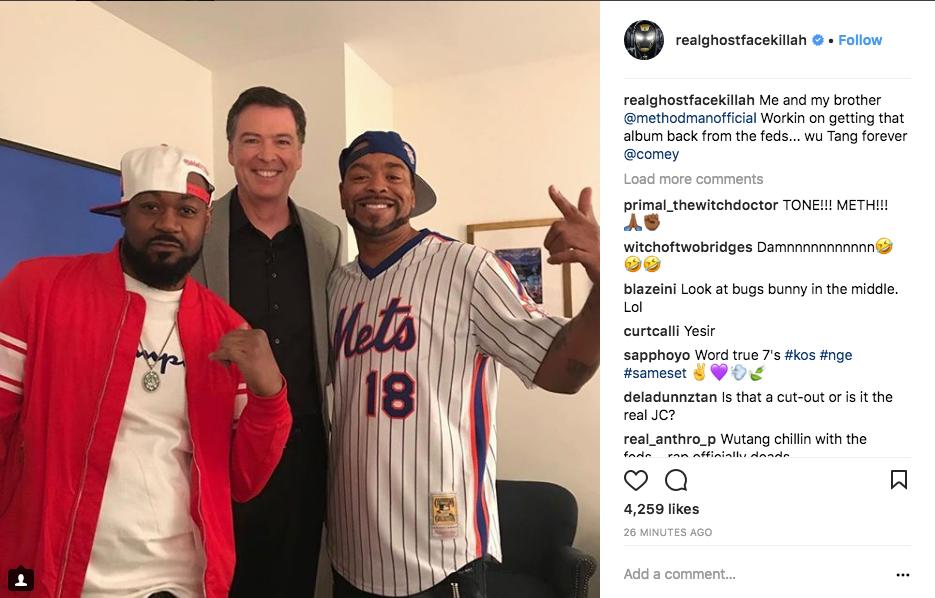 Ghostface Killah, James Comey, and Method Man, on Instagram