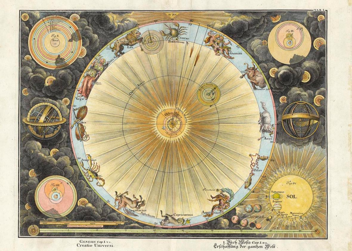 Creatio Universi, 1720.  Engraving of the creation of the universe, the earth surrounded by planetary orbits engraved by Fuesslinus who worked in Augsburg, Germany