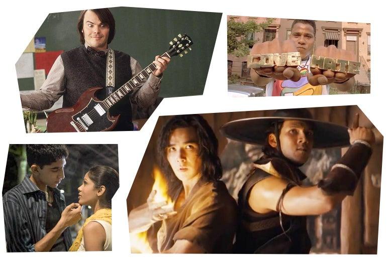 Stills of Jack Black in School of Rock, Bill Nunn in Do the Right Thing, Ludi Lin and Max Huang in Mortal Kombat, Dev Patel and Freida Pinto in Slumdog Millionaire.