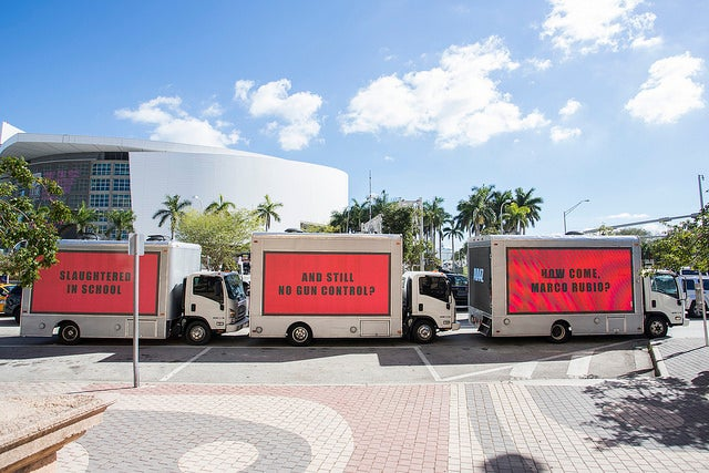 Three billboards in Miami protest the Parkland, Florida shooting.
