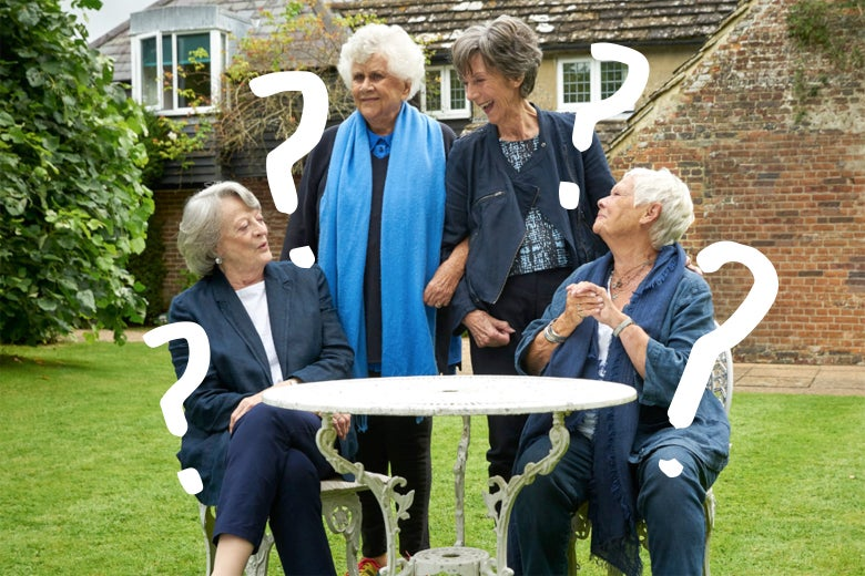 The four dames sitting and standing around a table in the backyard of Plowright's country house.