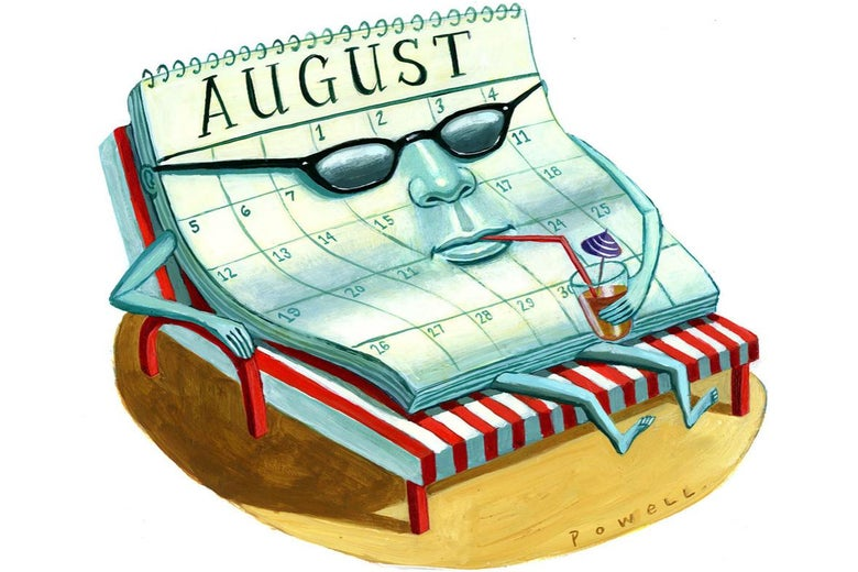Illustration of a calendar kicking back on a lawn chair while wearing sunglasses and drinking something cold.