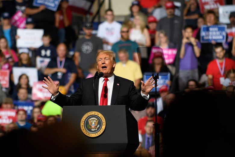 President Donald J. Trump speaks to supporters at a rally inside the WesBanco Arena on September 29, 2018 in Wheeling, West Virginia.