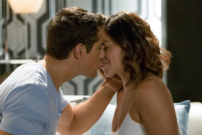 In a still from Jane the Virgin, Jane and Fabian kiss.