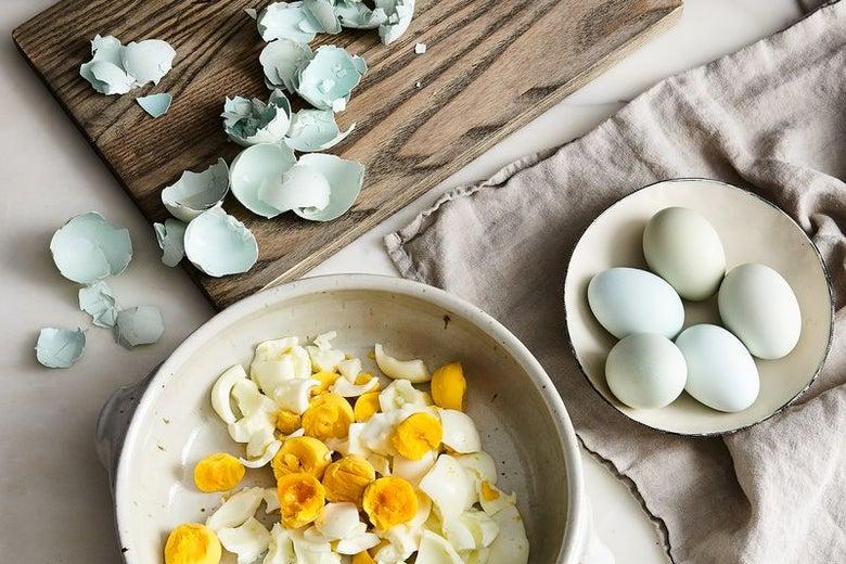 Soft-boiled eggs, peeled.