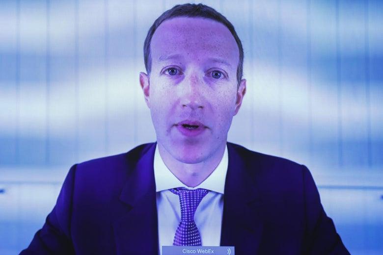 Facebook CEO Mark Zuckerberg testifies via video conference.