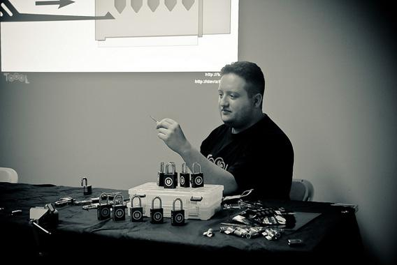 Deviant Ollam talks about lock-picking at a Hackers on Planet Earth event in July 2010.