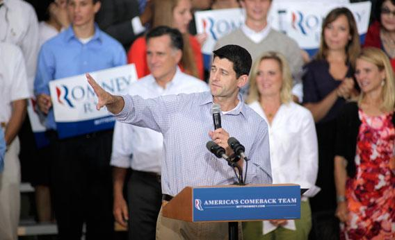Republican vice presidential candidate and Wisconsin native Rep. Paul Ryan speaks during a campaign event at the Waukesha Expo Center on August 12, 2012 in Waukesha, Wisconsin.