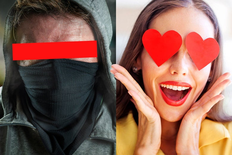 A masked and hooded antifa member and a woman with hearts over her eyes and her hands on her face.