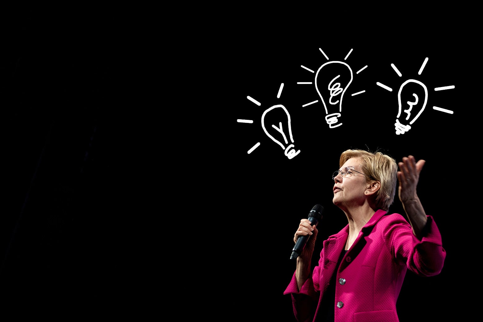 Elizabeth Warren speaks some policy, with drawn lightbulbs going off over her head.