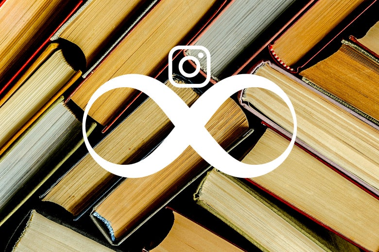 Stock image of several books with the Instagram Stories logo on top.