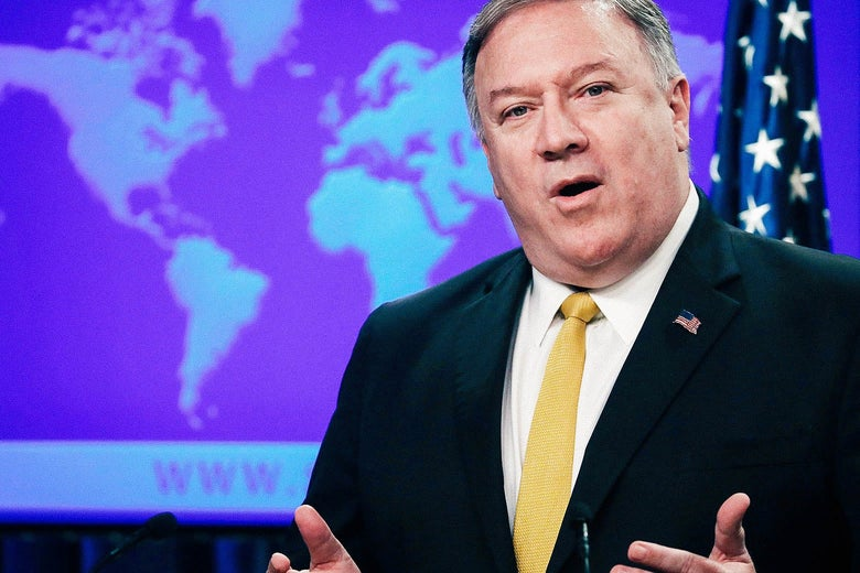 U.S. Secretary of State Mike Pompeo announces the formation of a commission to redefine human rights, on Monday in Washington.