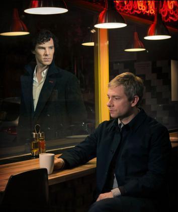 Benedict Cumberbatch as Sherlock Holmes and Martin Freeman as Dr. John Watson.