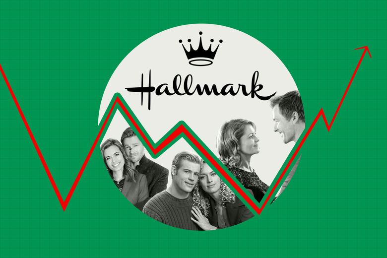 Hallmark crown logo above three happy white hetero couples from Hallmark movies