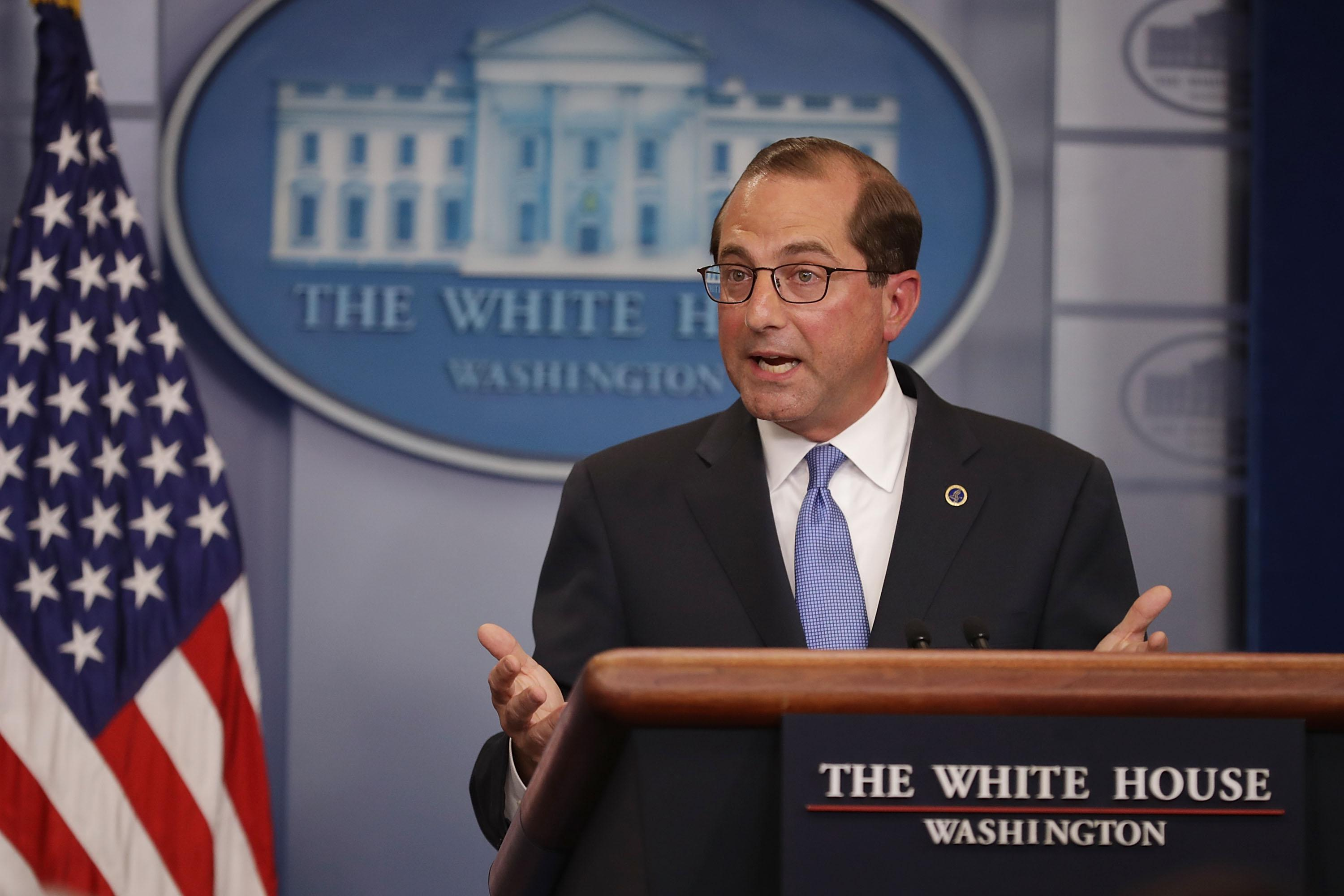 WASHINGTON, DC - MAY 11:  U.S. Health and Human Services Secretary Alex Azar takes questions from reporters in the Brady Press Briefing Room at the White House May 11, 2018 in Washington, DC. Earlier in the day, Azar joined President Donald Trump to announce a 'blueprint' for lowering prescription drug prices.  (Photo by Chip Somodevilla/Getty Images)