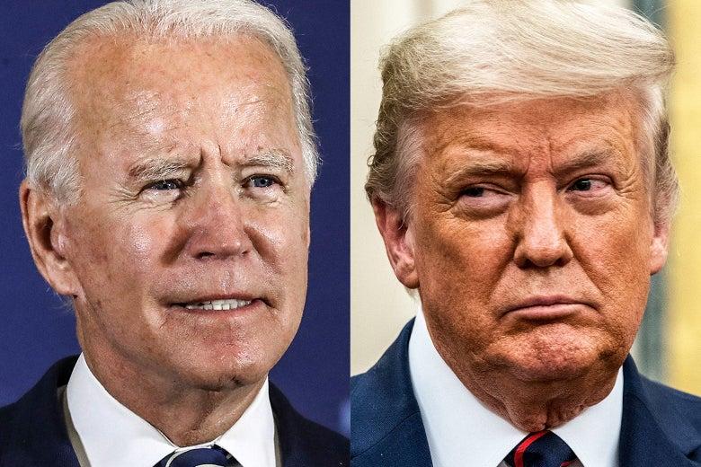 Headshots of Biden, left, and Trump