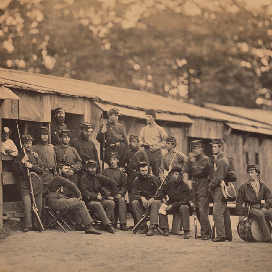 Camp Sprague. First Rhode Island Regiment. Company D [Washington, D.C.], 1861. Albumen silver print