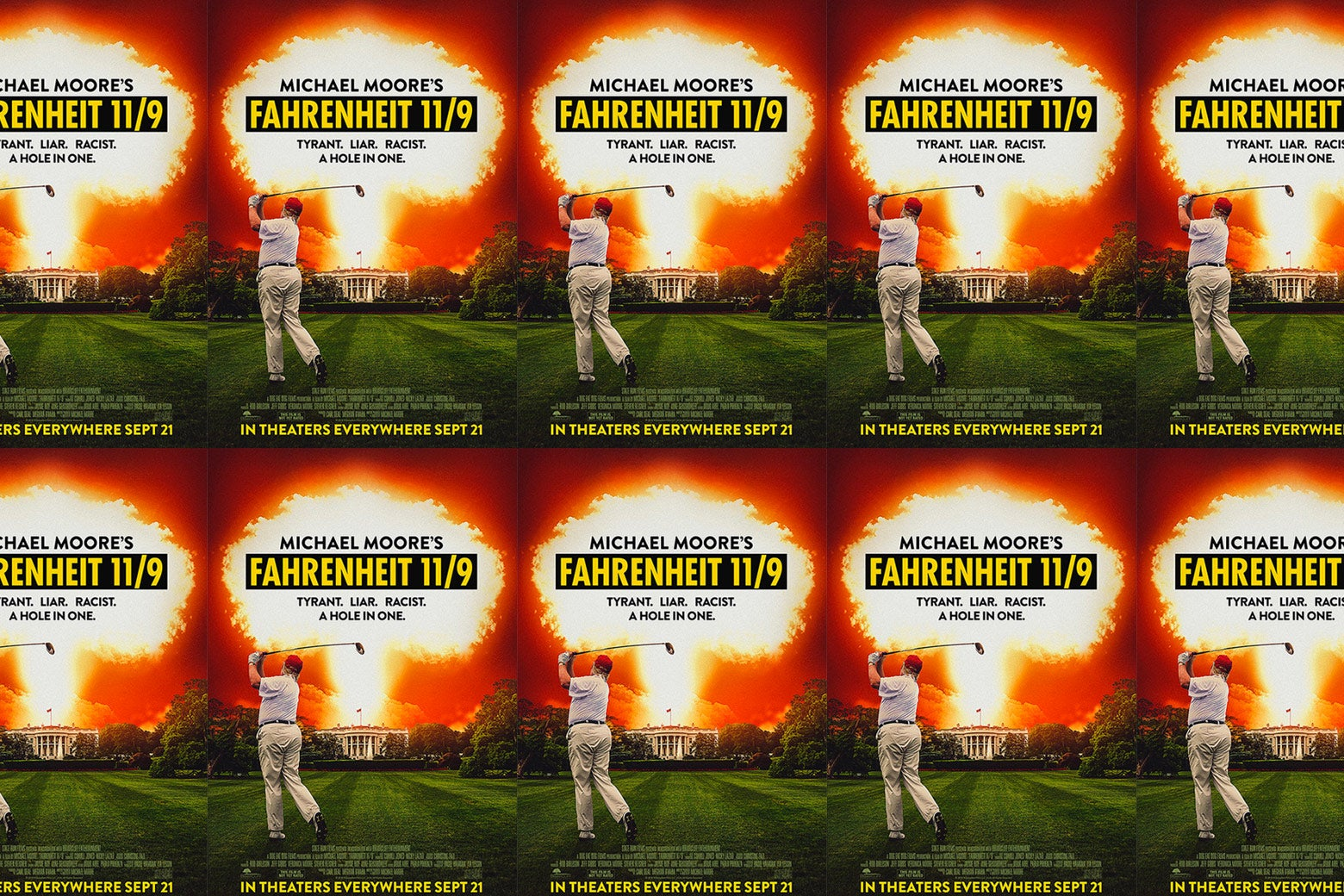 Fahrenheit 11/9 movie poster shown over and over.