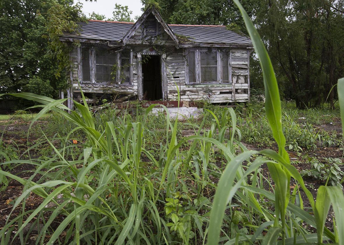 An abandoned house, damaged by Hurricane Katrina.