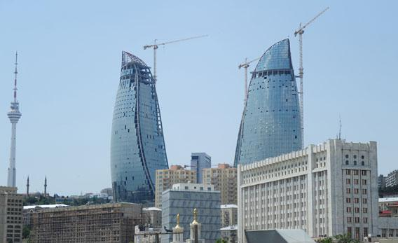 The fire towers under construction are pictured on June 8, 2011 in Baku, Azerbaijan.
