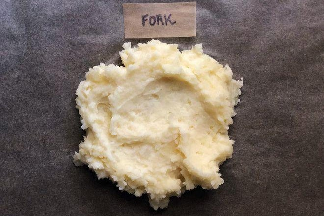 A dollop of mashed potatoes labeled Fork.